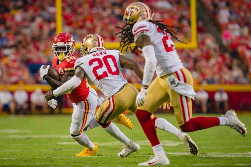 Kansas City Chiefs wide receiver Tyreek Hill (L) averaged an NFL-best 15 yards per touch last season. Photo by Kyle Rivas/UPI