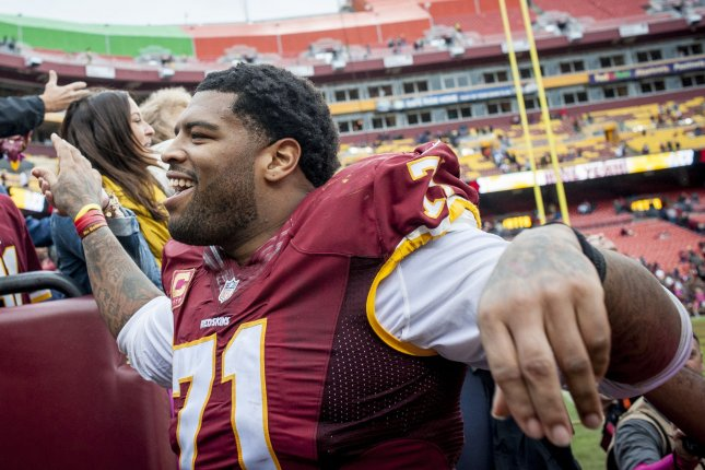 Pro Bowl tack Trent Williams, who joined the San Francisco 49ers in a 2020 trade, has agreed to a record contract with the NFC West franchise. File Photo by Pete Marovich/UPI
