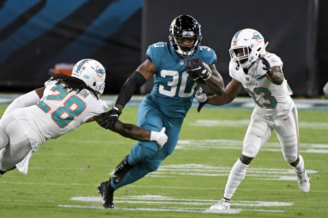 Ryquell Armstead was expected to have a larger role on offense last season after the Jacksonville Jaguars released running back Leonard Fournette, but undrafted rookie James Robinson (30) went on to win the starting job. File Photo by Joe Marino/UPI