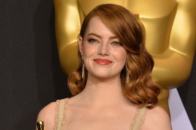 Emma Stone appears backstage with her Oscar during the 89th annual Academy Awards on February 26. Stone stars in the first trailer for sports comedy Battle of the Sexes alongside Steve Carell. File Photo by Jim Ruymen/UPI