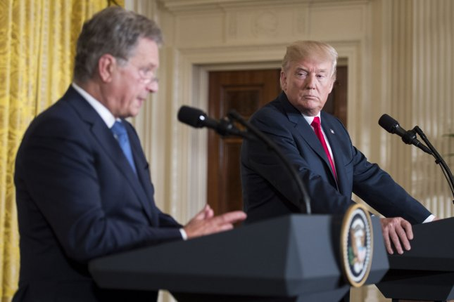 President Donald Trump (R) and President Sauli Niinisto of Finland hold a joint press conference at the White House in Washington, D.C., on Monday. Photo by Kevin Dietsch/UPI