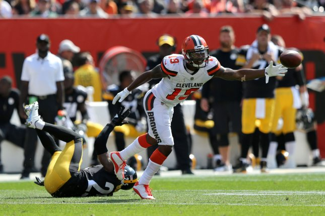 Cleveland Browns Corey Coleman is unable to make a catch while defended by Pittsburgh Steelers Artie Burns during the second half at First Energy Stadium in Cleveland, Ohio September 10, 2017. File photo by Aaron Josefczyk/UPI