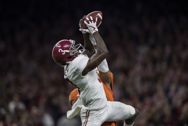 Clemson Tigers safety Van Smith (not visible) blocks a pass intended for Alabama Crimson Tide wide receiver Calvin Ridley (3) in the second quarter of the Allstate Sugar Bowl on January 1, 2018 at the Mercedes-Benz Superdome in New Orleans. Photo by Mark Wallheiser/UPI