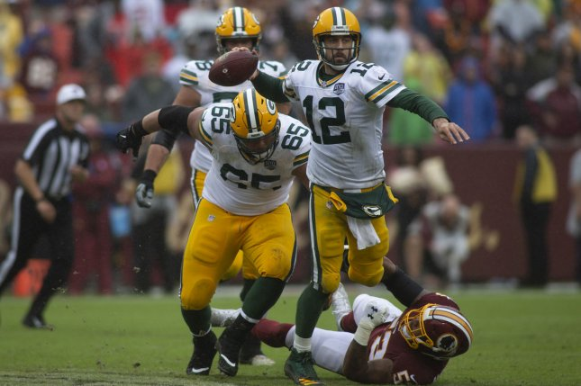 Aaron Rodgers and the Green Bay Packers take on the San Francisco 49ers on Monday night. Photo by Alex Edelman/UPI