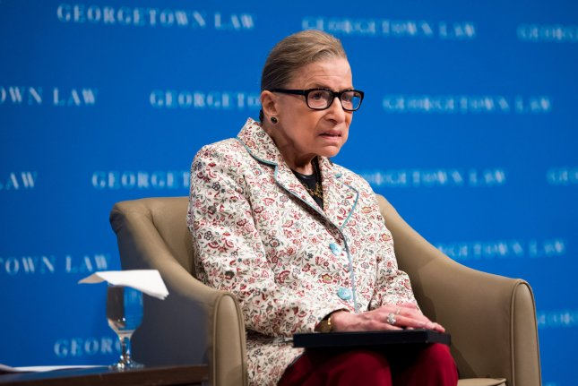 Supreme Court Associate Justice Ruth Bader Ginsburg speaks at the Georgetown University Law Center on September 26. Photo by Kevin Dietsch/UPI