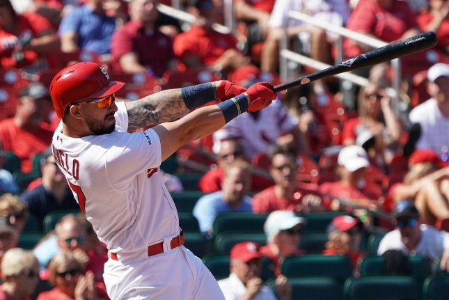 St. Louis Cardinals first baseman Rangel Ravelo went 1 for 4 with a home run and an RBI in a win against the Colorado Rockies Thursday in Denver. Photo by Bill Greenblatt/UPI