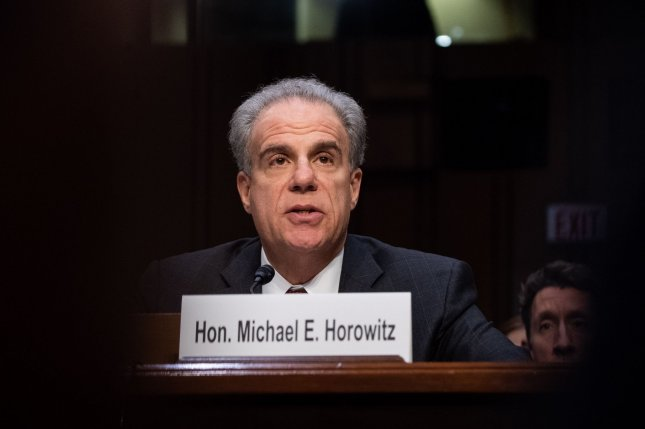 Michael Horowitz, inspector general for the Justice Department, testifies before the Senate judiciary committee. Photo by Kevin Dietsch/UPI