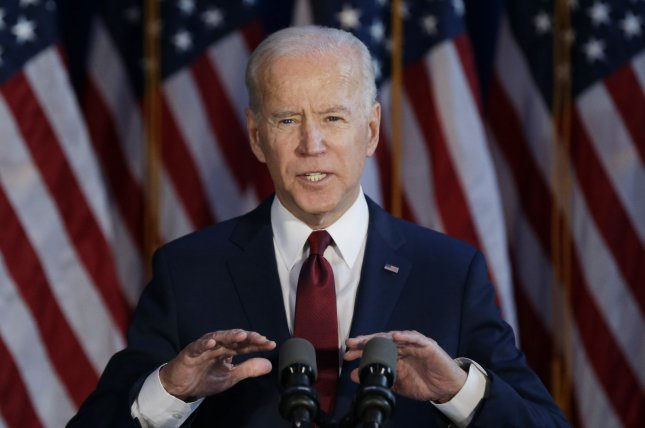 Democratic candidate for president Joe Biden delivers a foreign policy statement at Current at Chelsea Piers, Pier 59 on Tuesday in New York City. Photo by John Angelillo/UPI