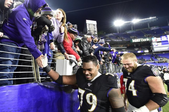 Baltimore Ravens offensive tackle Ronnie Stanley (79) is now under contract through the 2025 season after he signed an extension on Friday. File Photo by David Tulis/UPI