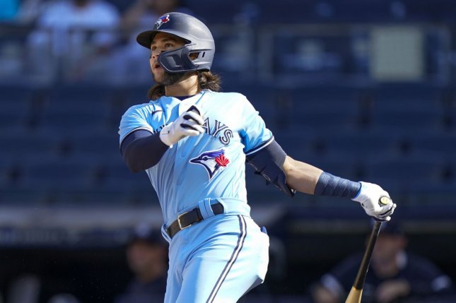 Toronto Blue Jays shortstop Bo Bichette went 2 for 4 with an RBI in a win over the Miami Marlins on Wednesday in Miami. File Photo by Corey Sipkin/UPI