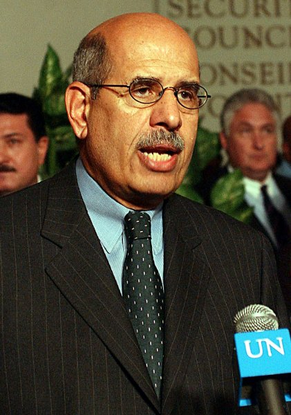 Mohamed ElBaradei, and his organization the International Atomic Energy Agency was awarded on Oct. 7, 2005 the 2005 Nobel Prize for Peace. (UPI Photo/Ezio Petersen)