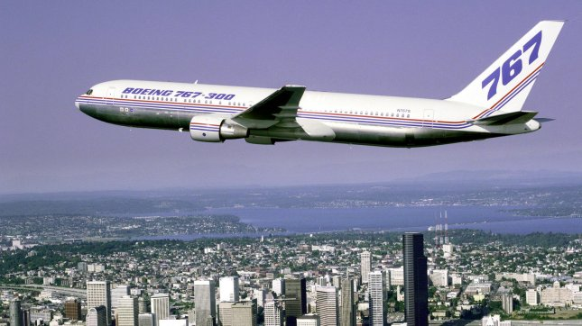 A file image of a Boeing 767-300 in the air. jr/HO/Boeing UPI