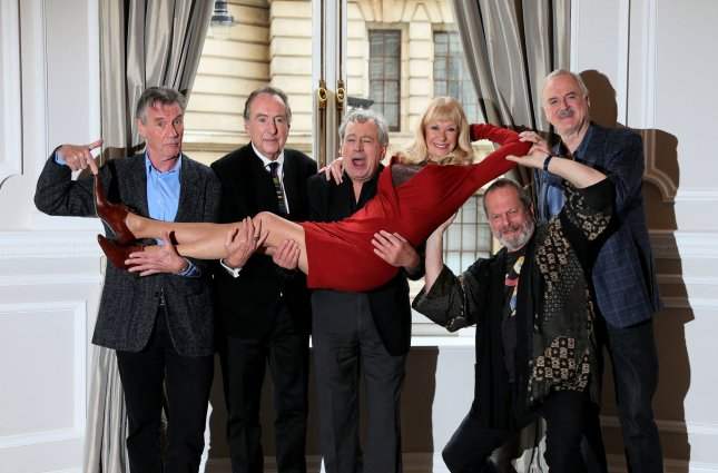 The Monty Python gang of (L-R) Michael Palin, Eric Idle,Terry Jones, Carol Cleveland, Terry Gilliam and John Cleese attend a photocall to publicize a a reunion show at the Corinthia Hotel in London Nov. 21, 2013. Photo by Hugo Philpott/UPI