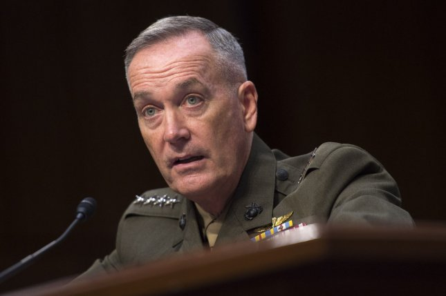 "Marine Corps Gen. Joseph Dunford said the United States should be prepared to confront a ""trans-regional, multi-domain and multi-functional"" conflict if war breaks out on the Korean peninsula. Photo by Kevin Dietsch/UPI"