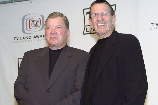 William Shatner (L) and Leonard Nimoy appear backstage at the TV Land Awards March 13, 2005, in Santa Monica, Calif. Shatner has penned a new book detailing the duo's long friendship. File Photo by John Hayes/UPI