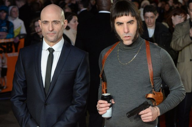 British actors Mark Strong (L) and Sacha Baron Cohen (R) as his character Nobby attend the premiere of The Brothers Grimsby at Odeon in London on February 22, 2016. The film features a controversial scene in which presidential hopeful Donald Trump contracts AIDS. File Photo by Rune Hellestad/ UPI