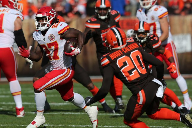 Kansas City Chiefs running back Kareem Hunt runs through the Cleveland Browns defense during a game last season. Hunt signed with the Browns this offseason. File Photo by Aaron Josefczyk/UPI