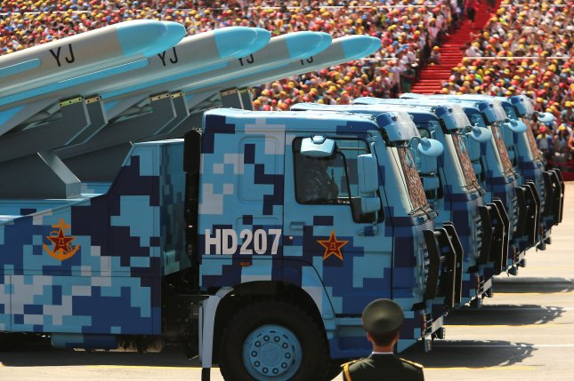 China's military said Thursday that a test of a mid-range missile defense system met its objectives as tensions persist with the United States and Taiwan. File Photo by Stephen Shaver/UPI