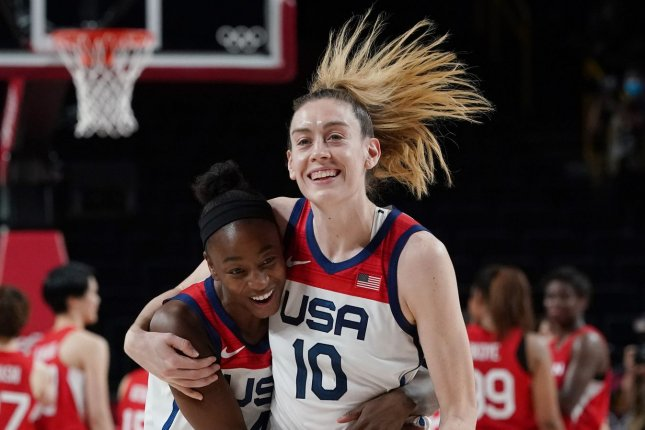 Breanna Stewart (10) helped Team USA win a gold medal at the 2020 Summer Games two days before she welcomed baby daughter Ruby. File Photo by Richard Ellis/UPI
