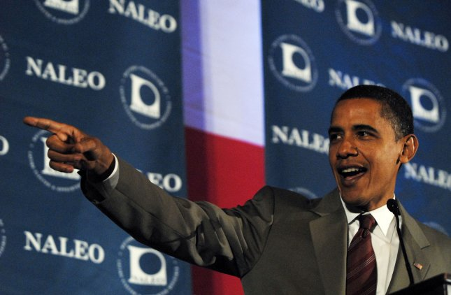 Then-Sen. Barrack Obama (D-IL) speaking at the 25th annual conference of National Association of Latino Elected and Appointed Officials (NALEO) in Washington on June 28, 2008. (UPI Photo/Alexis C. Glenn)