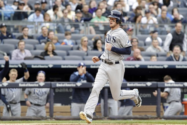 Tampa Bay Rays Wil Myers runs home after hitting an inside the park home run in the 3rd inning against the New York Yankees at Yankee Stadium in New York City on May 4, 2014. UPI/John Angelillo