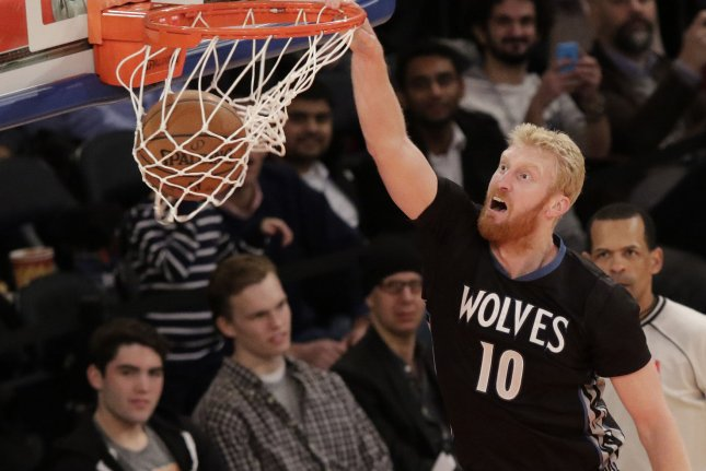 Former Minnesota Timberwolves forward Chase Budinger dunks the basketball in the first half against the New York Knicks at Madison Square Garden in New York City on March 19, 2015. Photo by John Angelillo/UPI