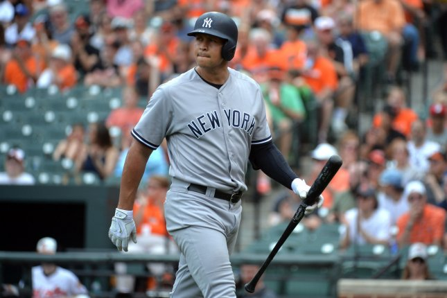 New York Yankees designated hitter Alex Rodriguez (13) strikes out against the Baltimore Orioles in the first inning at Orioles Park at Camden Yards in Baltimore, Maryland on June 5, 2016. Photo by Kevin Dietsch/UPI