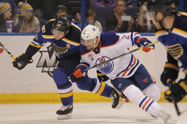 Edmonton Oilers Andrej Sekera will be out 6-9 months with a torn ACL. File photo by Bill Greenblatt/UPI