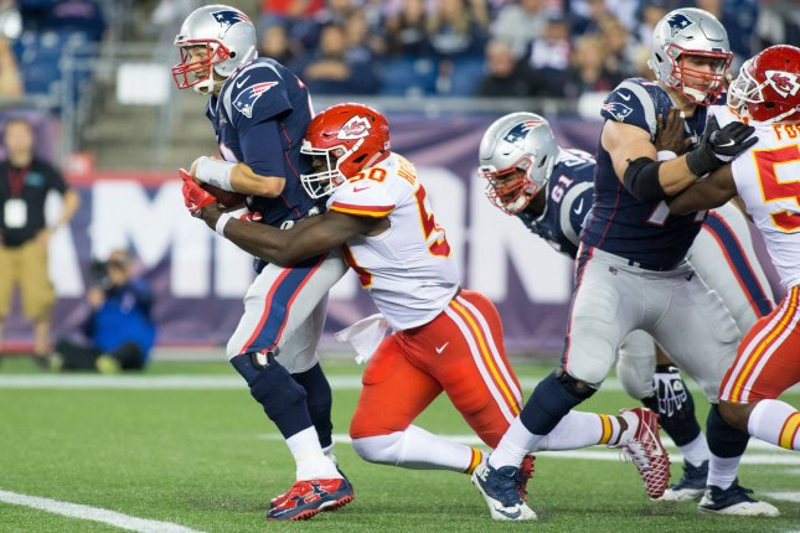 63c3e0ad00e0f New England Patriots quarterback Tom Brady is sacked by Kansas City Chiefs  linebacker Justin Houston during their season-opening game last week.