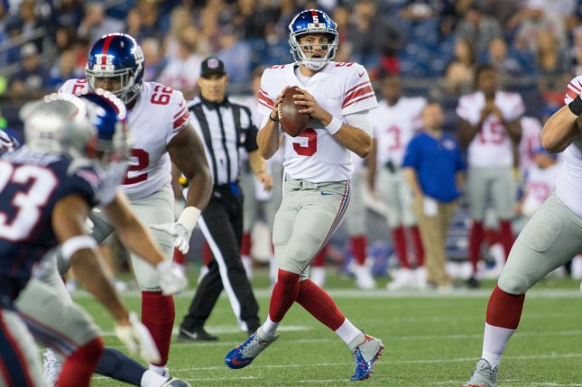 20894a31f Former New York Giants quarterback Davis Webb (5) looks for an open  receiver in the fourth quarter of a preseason game against the New England  Patriots on ...