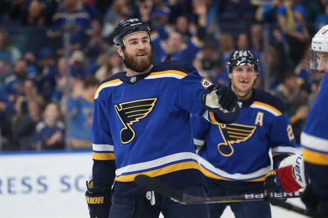 St. Louis Blues forward Ryan O'Reilly scored two goals in the Blues' 4-2 win versus the Boston Bruins on Monday night. File Photo by Bill Greenblatt/UPI