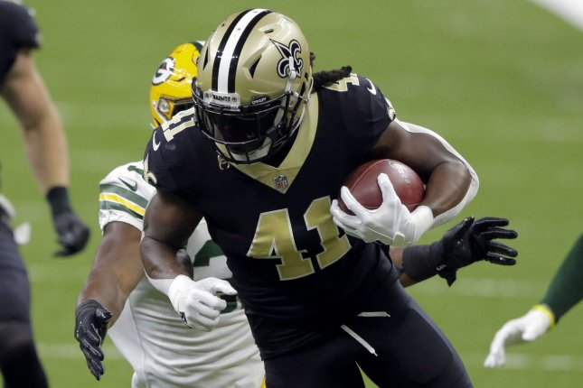 New Orleans Saints running back Alvin Kamara (41) has the most fantasy points among running backs through three weeks of the 2020 NFL season. Photo by AJ Sisco/UPI