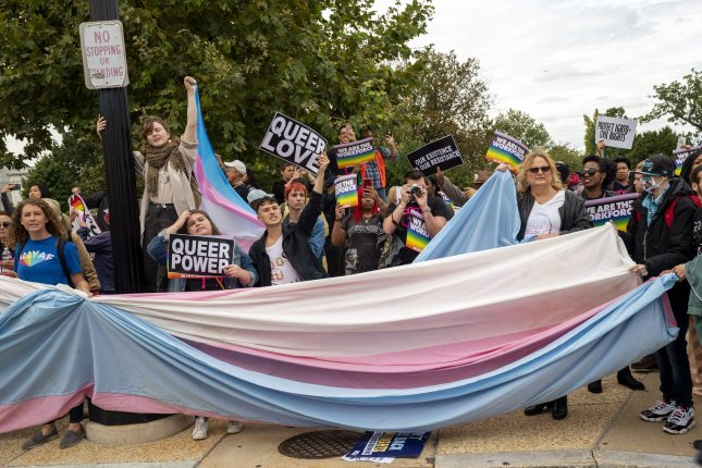 Demonstrators protesting near the Supreme Court it heard oral arguments in three cases on LGBTQ discrimination protections in 2019, Photo by Kevin Dietsch/UPI
