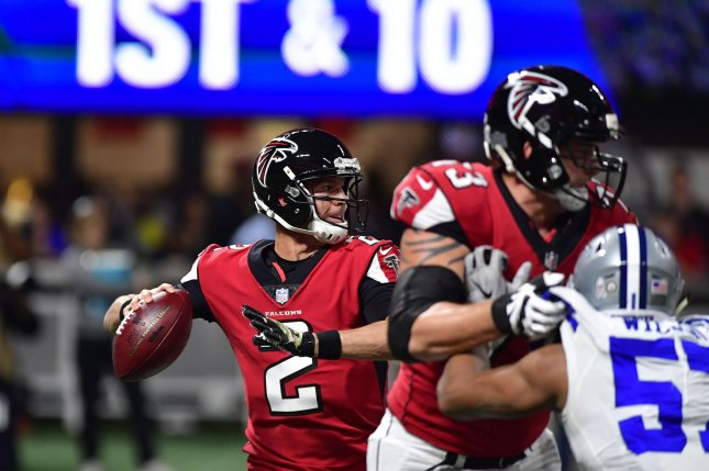 Atlanta Falcons quarterback Matt Ryan (2) throws downfield against the Dallas Cowboys during the first half of an NFL game at Mercedes Benz Stadium in Atlanta, November 12, 2017. File photo by David Tulis/UPI