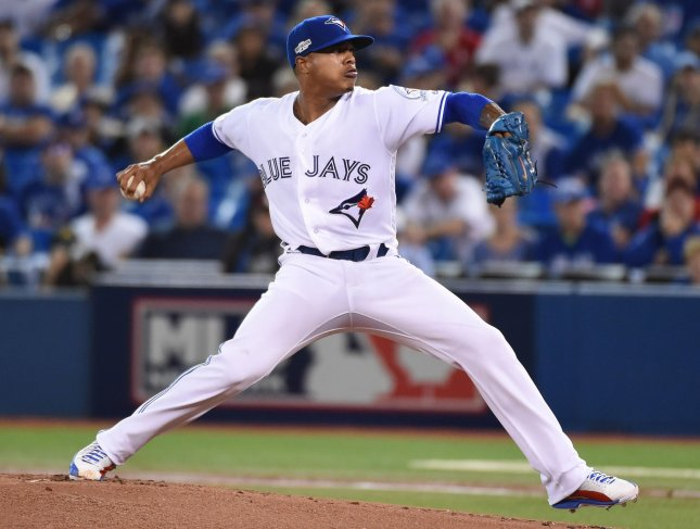 Marcus Stroman and the Toronto Blue Jays take on the Texas Rangers on Friday. Photo by Darren Calabrese/UPI