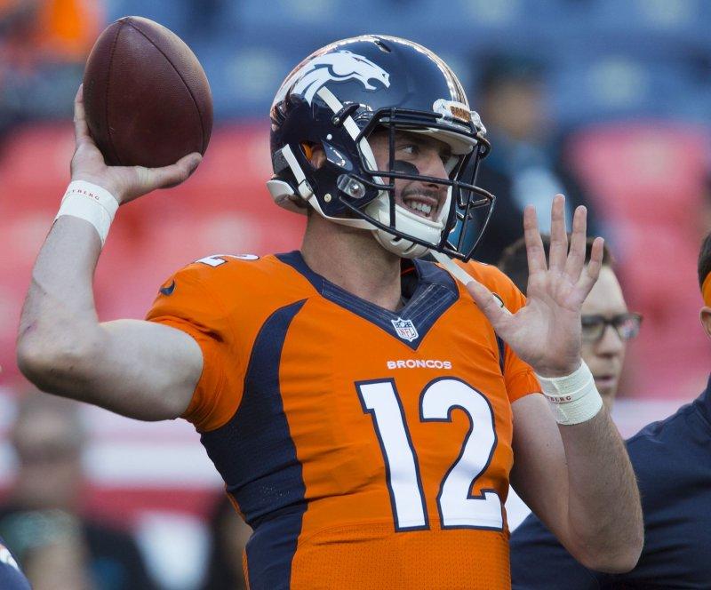 Denver Broncos quarterback Paxton Lynch warms up prior to a game against the Atlanta Falcons. Photo by Gary C. Caskey/UPI