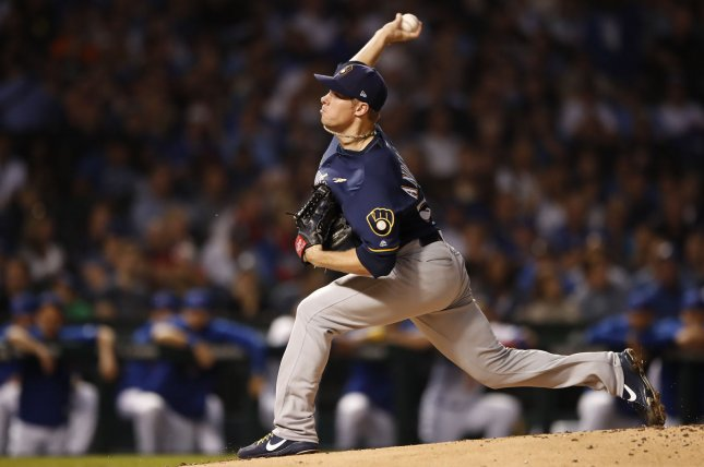 Chase Anderson and the Milwaukee Brewers take on the St. Louis Cardinals on Tuesday. Photo by Kamil Krzaczynski/UPI