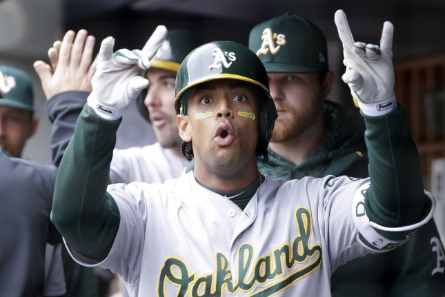 The Oakland Athletics are the first team to report to spring training, with pitchers and catchers reporting Monday in Mesa, Ariz. Slugger Khris Davis and the rest of the Athletics' roster reports Saturday. File Photo by John Angelillo/UPI