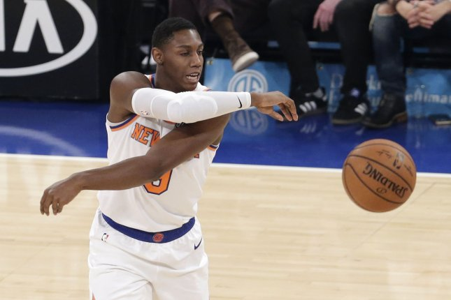 New York Knicks rookie R.J. Barrett had 22 points and 10 rebounds in a win against the Golden State Warriors Wednesday in San Francisco. Photo by John Angelillo/UPI
