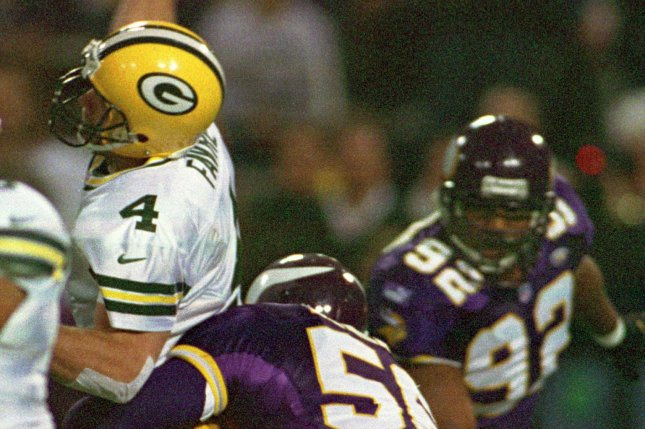 Former Minnesota Vikings defensive end Chris Doleman (56) recorded the second-most sacks in franchise history, trailing only John Randle. File Photo by Bruce Kluckhohn/UPI