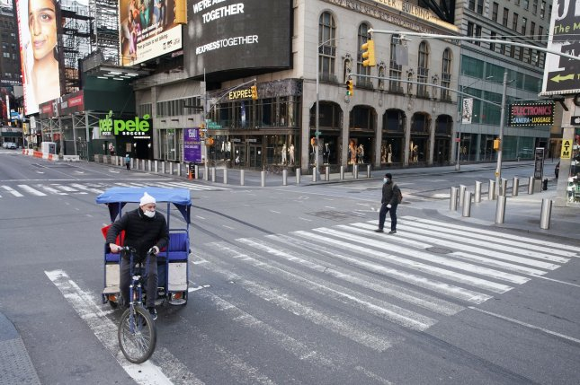 With New York City basically shut down from March to May 2020 because of the COVID-19 pandemic, researchers used opportunity to simulate a future there with significantly less traffic and air pollution -- and cleaner air, as a result. File Photo by John Angelillo/UPI