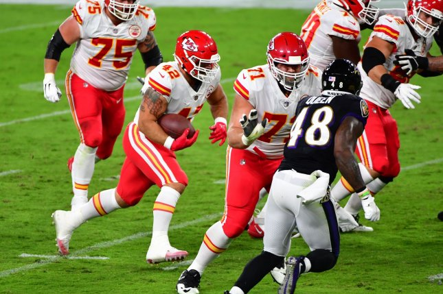 Kansas City Chiefs fullback Anthony Sherman (42) played eight seasons with the Chiefs. He was a Pro Bowl selection in 2018. File Photo by David Tulis/UPI