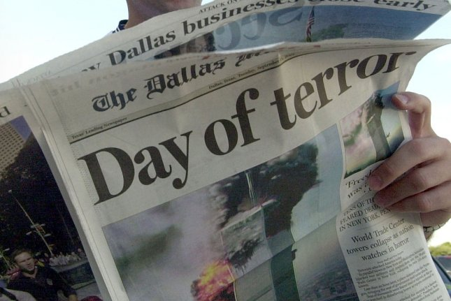 This Day of Terror headline appeared in a special edition of the Dallas Morning News after terrorist attacks on the United States Sept. 11, 2001. File Photo/UPI