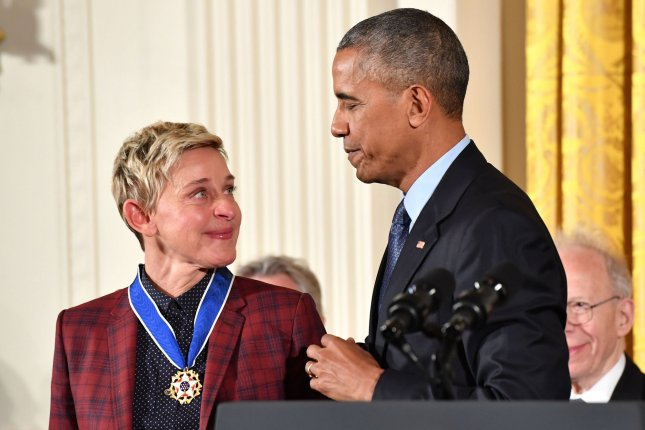 President Barack Obama awards the Presidential Medal of Freedom to comedian Ellen DeGeneres, during a ceremony at the White House in Washington, D.C. on November 22, 2016. Obama awarded 21 medals to distinguished innovators, entertainers athletes and philanthropists. Photo by Kevin Dietsch/UPI
