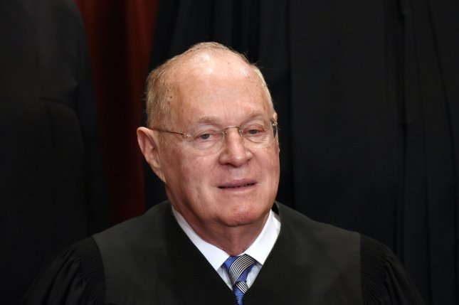 Associate Justice Anthony M. Kennedy issued a new order on Monday on the legal challenges to Trump's travel, blocking a lower court ruling and temporarily reinstating the administration's right to ban refugees with assurances. Photo by Olivier Douliery/UPI