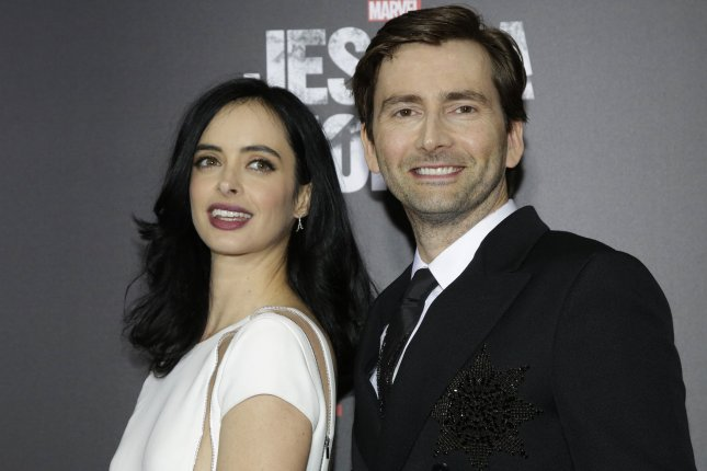 David Tennant (R) with Krysten Ritter. The actor will be appearing in Netflix's Criminal along with Hayley Atwell. File Photo by John Angelillo/UPI