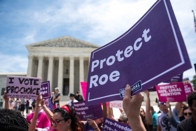 Abortion rights supporters demonstrate outside the U.S. Supreme Court during a rally on May 21. The high court returns for its next session October 7. File Photo by Kevin Dietsch/UPI