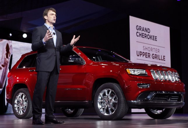 Mike Manley, President and CEO of the Jeep Brand of Chrysler Group introduces the new Jeep Grand Cherokee during the 2013 North American International Auto Show at the Cobo Center in Detroit, January 14, 2013. UPI/Mark Cowan