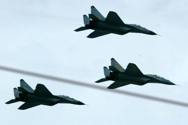 Russian fighter jet maneuvers over the Atlantic and the Baltic, Black and North seas forced eight nations to scramble jets to intercept the aircraft. (UPI Photo/Mohammad Kheirkhah)