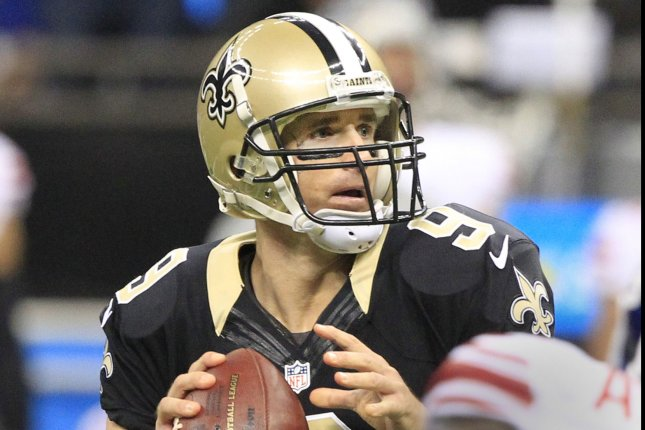 New Orleans Saints quarterback Drew Brees (9) was 40/50 and threw for 511 yards and 7 touchdowns against the New York Giants at the Mercedes-Benz Superdome in New Orleans November 1, 2015. Photo by AJ Sisco/UPI